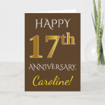 [ Thumbnail: Brown, Faux Gold 17th Wedding Anniversary + Name Card ]