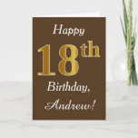 [ Thumbnail: Brown, Faux Gold 18th Birthday + Custom Name Card ]