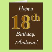 Brown, Faux Gold 18th Birthday   Custom Name Card