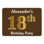 [ Thumbnail: Brown, Faux Gold 18th Birthday Party; Custom Name Invitation ]