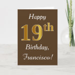 [ Thumbnail: Brown, Faux Gold 19th Birthday + Custom Name Card ]