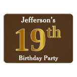 [ Thumbnail: Brown, Faux Gold 19th Birthday Party; Custom Name Invitation ]