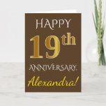 [ Thumbnail: Brown, Faux Gold 19th Wedding Anniversary + Name Card ]