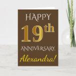 [ Thumbnail: Brown, Faux Gold 19th Wedding Anniversary + Name Card ]