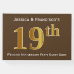 [ Thumbnail: Brown, Faux Gold 19th Wedding Anniversary Party Guest Book ]