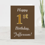 [ Thumbnail: Brown, Faux Gold 1st Birthday + Custom Name Card ]