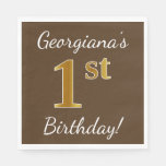 [ Thumbnail: Brown, Faux Gold 1st Birthday + Custom Name Napkin ]