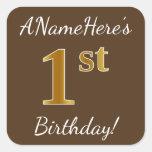 [ Thumbnail: Brown, Faux Gold 1st Birthday + Custom Name Sticker ]
