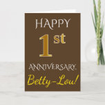 [ Thumbnail: Brown, Faux Gold 1st Wedding Anniversary + Name Card ]