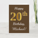 [ Thumbnail: Brown, Faux Gold 20th Birthday + Custom Name Card ]