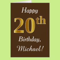 Brown, Faux Gold 20th Birthday   Custom Name Card