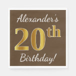 [ Thumbnail: Brown, Faux Gold 20th Birthday + Custom Name Paper Napkin ]