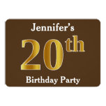 [ Thumbnail: Brown, Faux Gold 20th Birthday Party; Custom Name Invitation ]
