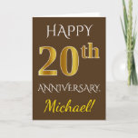 [ Thumbnail: Brown, Faux Gold 20th Wedding Anniversary + Name Card ]