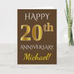 [ Thumbnail: Brown, Faux Gold 20th Wedding Anniversary + Name Card ]
