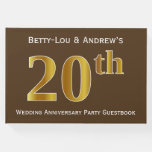 [ Thumbnail: Brown, Faux Gold 20th Wedding Anniversary Party Guest Book ]