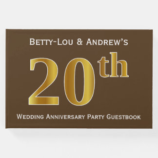Brown, Faux Gold 20th Wedding Anniversary Party Guest Book