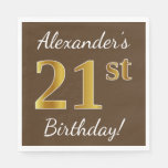 [ Thumbnail: Brown, Faux Gold 21st Birthday + Custom Name Napkin ]
