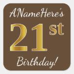[ Thumbnail: Brown, Faux Gold 21st Birthday + Custom Name Sticker ]