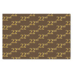 [ Thumbnail: Brown, Faux Gold 22nd (Twenty-Second) Event Tissue Paper ]