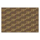 [ Thumbnail: Brown, Faux Gold 23rd (Twenty-Third) Event Tissue Paper ]
