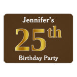 [ Thumbnail: Brown, Faux Gold 25th Birthday Party; Custom Name Invitation ]