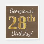 [ Thumbnail: Brown, Faux Gold 28th Birthday + Custom Name Napkin ]