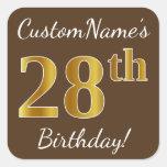 [ Thumbnail: Brown, Faux Gold 28th Birthday + Custom Name Sticker ]