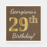 [ Thumbnail: Brown, Faux Gold 29th Birthday + Custom Name Napkin ]