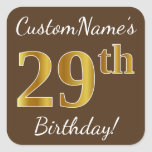 [ Thumbnail: Brown, Faux Gold 29th Birthday + Custom Name Sticker ]