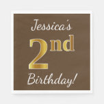 [ Thumbnail: Brown, Faux Gold 2nd Birthday + Custom Name Paper Napkin ]