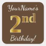 [ Thumbnail: Brown, Faux Gold 2nd Birthday + Custom Name Sticker ]