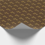 [ Thumbnail: Brown, Faux Gold 2nd (Second) Event Wrapping Paper ]