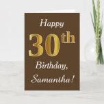 [ Thumbnail: Brown, Faux Gold 30th Birthday + Custom Name Card ]