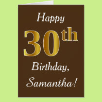 Brown, Faux Gold 30th Birthday   Custom Name Card