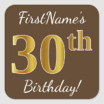 [ Thumbnail: Brown, Faux Gold 30th Birthday + Custom Name Sticker ]