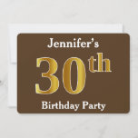 [ Thumbnail: Brown, Faux Gold 30th Birthday Party; Custom Name Invitation ]