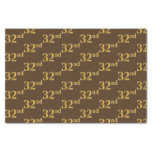 [ Thumbnail: Brown, Faux Gold 32nd (Thirty-Second) Event Tissue Paper ]