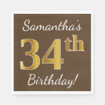 [ Thumbnail: Brown, Faux Gold 34th Birthday + Custom Name Napkin ]