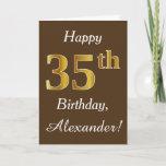 [ Thumbnail: Brown, Faux Gold 35th Birthday + Custom Name Card ]