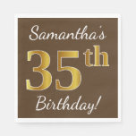 [ Thumbnail: Brown, Faux Gold 35th Birthday + Custom Name Napkin ]