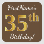 [ Thumbnail: Brown, Faux Gold 35th Birthday + Custom Name Sticker ]