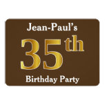 [ Thumbnail: Brown, Faux Gold 35th Birthday Party; Custom Name Invitation ]