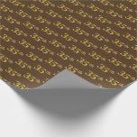 [ Thumbnail: Brown, Faux Gold 35th (Thirty-Fifth) Event Wrapping Paper ]