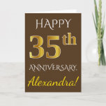 [ Thumbnail: Brown, Faux Gold 35th Wedding Anniversary + Name Card ]