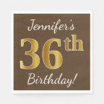[ Thumbnail: Brown, Faux Gold 36th Birthday + Custom Name Napkin ]