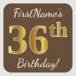 [ Thumbnail: Brown, Faux Gold 36th Birthday + Custom Name Sticker ]