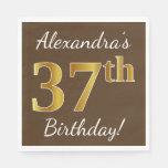 [ Thumbnail: Brown, Faux Gold 37th Birthday + Custom Name Napkin ]