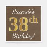 [ Thumbnail: Brown, Faux Gold 38th Birthday + Custom Name Napkin ]