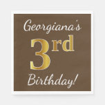 [ Thumbnail: Brown, Faux Gold 3rd Birthday + Custom Name Paper Napkin ]